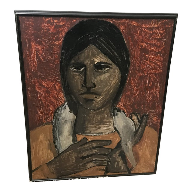 "In the Style of Esperilio Bute (1931 - 2003) ""Portrait of a Girl"" Likely Acrylic on Board Signed ""Bute"" For Sale"