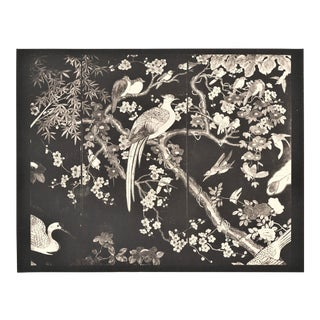 Art Deco Chinese Coromandel Screen Lithograph -Birds For Sale