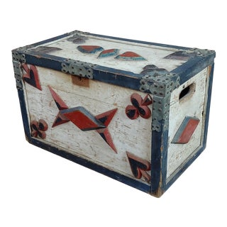 Americana 19th Century Painted Trunk W/Poker Cards Symbols- C.1860s For Sale
