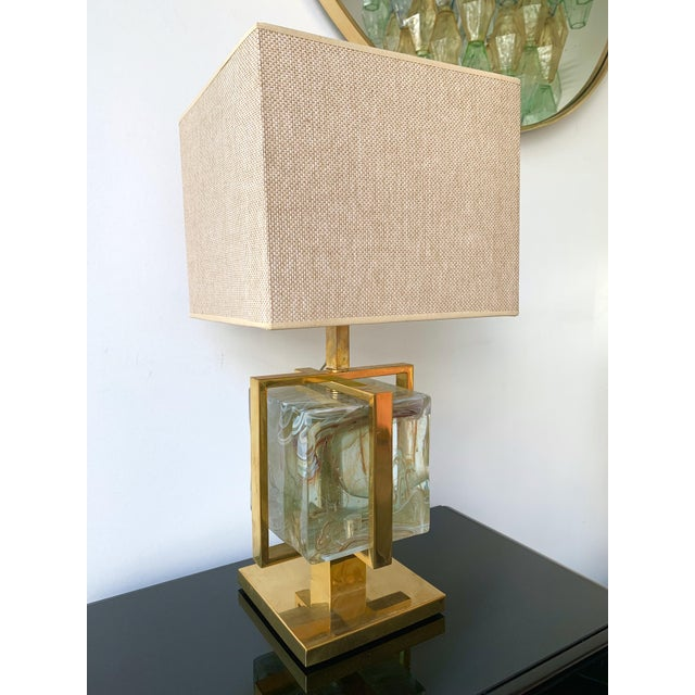 Contemporary Pair of Lamps Brass Cage Murano Glass Cube, Italy For Sale - Image 9 of 11