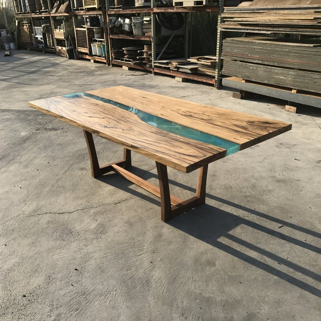 Wood & Resin River Table For Sale - Image 5 of 11