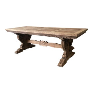 French Antique Parquet Top Dining Table