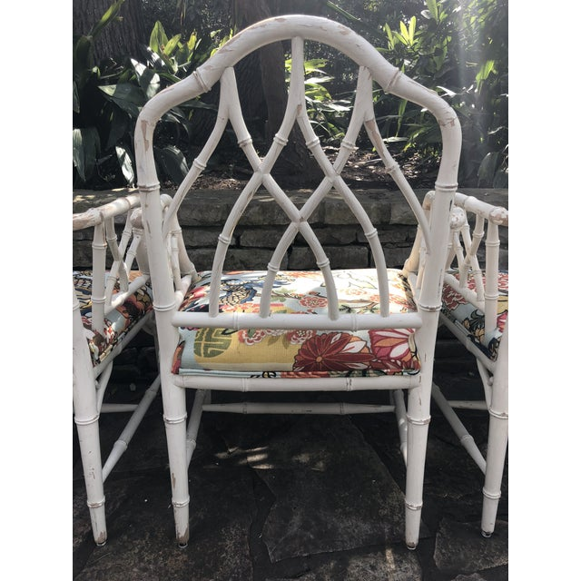White Chinese Chippendale Faux Bamboo Arm Chairs - Set of 4 For Sale - Image 8 of 11