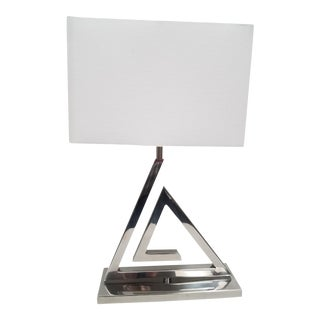Polished Nickel & White Linen Shade Triangular Table Lamp For Sale