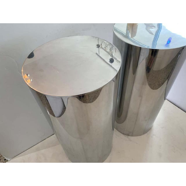 "33"" Drum Pedestals Stainless Steel by Paul Mayen for Habitat - a Pair For Sale In West Palm - Image 6 of 11"
