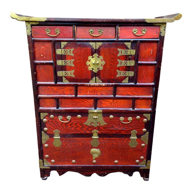 Antique Asian Cabinet Sideboard Tansu Dansu Vintage Korean or Chinese Decor  With Fish Locks and Keys - Antique Asian Cabinet Sideboard Tansu Dansu Vintage Korean Or