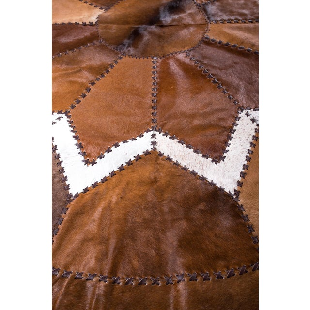 European Design Patchwork Cowhide Rug - 6' X 6' / Hair-On-Hide / Brand New - Image 6 of 10