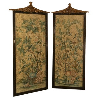 Pair of Monumental Chinese Wall Panels by Dessin Fournir For Sale