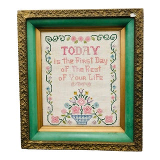 Vintage Hand Stitch in Painted Frame For Sale