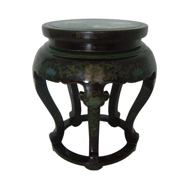 Antique Chinese Cloisonné & Black Lacquer Drum/Side Table - Image 1 of 6