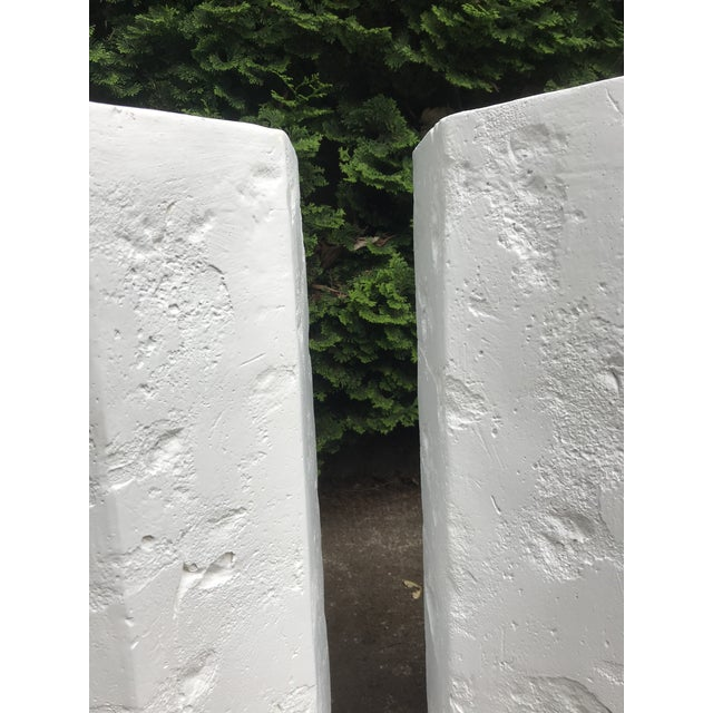1970s Octagonal Sirmos Style Plaster Quarry Rock Pedestals -A Pair For Sale - Image 5 of 6