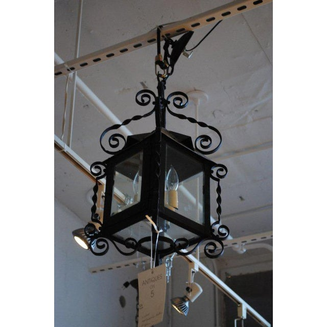 Early 20th Century 19th Century Four-Sided Arts & Crafts Iron Lantern For Sale - Image 5 of 6