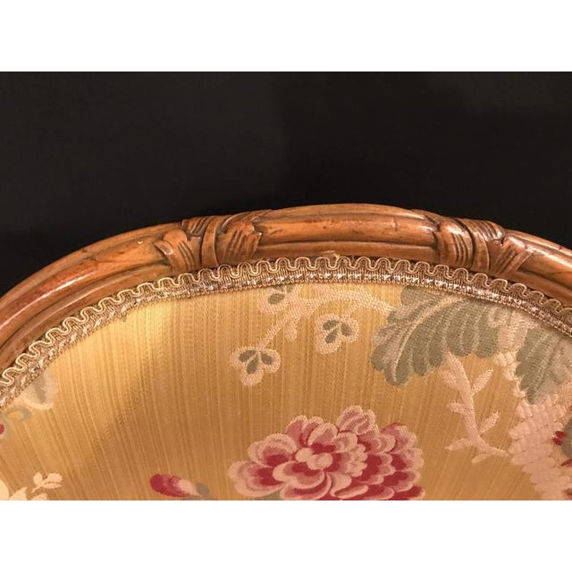 Silk Louis XV Style 2 Tone Gold Leaf Boudoir Chair For Sale - Image 7 of 9