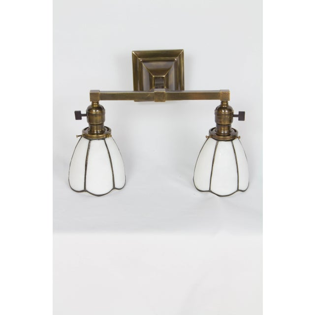 1910 Arts and Crafts Sconces With White Slag Glass Shades - a Pair For Sale - Image 4 of 7
