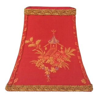Asian Pagoda Red Embroidered Gold Trim Clip on Square Bell Lampshade For Sale