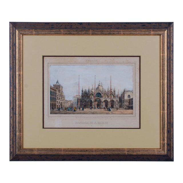 Basilica Di San Marco Antique Engraving For Sale