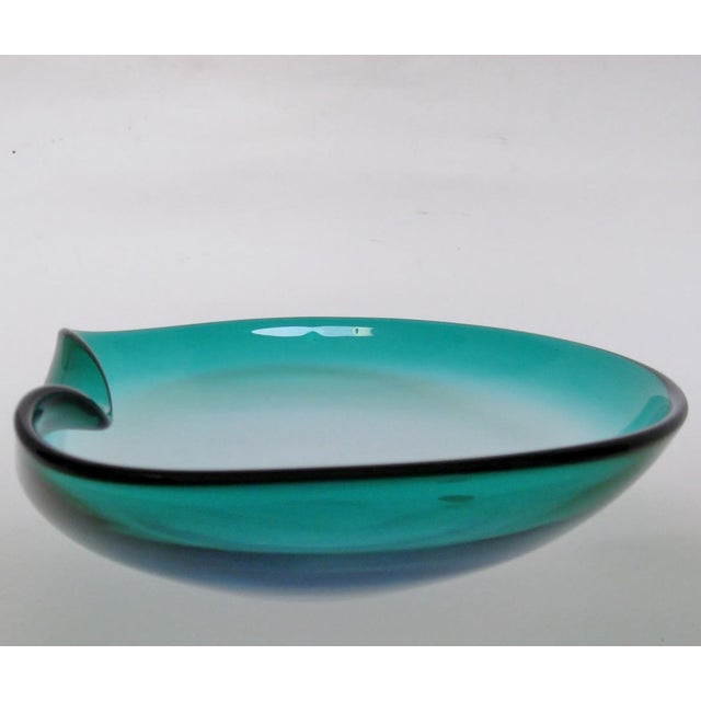 Vintage Barbini Murano large centerpiece bowl in teal heavy blown glass with a folded rim that shows a hint of cobalt...