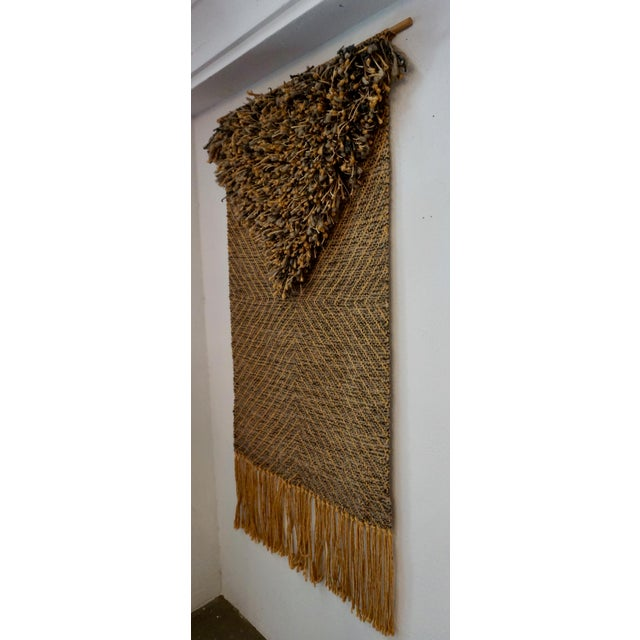 """Organic tapestry made from wool yarn and hemp signed on the back """"Eve Rabinowe""""."""