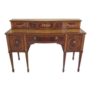 Maitland Smith Highly Inlaid Leather Top Mahogany Sideboard For Sale