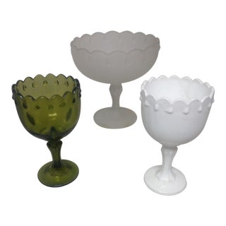 Vintage Scalloped Top Compotes - Set of 3 For Sale