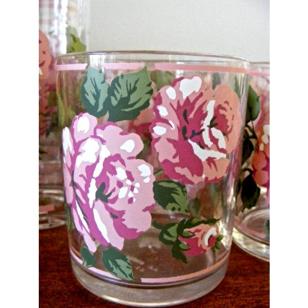 H. J. Stotter Plastic Tall Drinking & Tumbler Glasses With Roses - Set of 16 For Sale - Image 4 of 6
