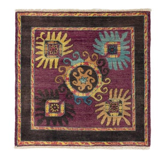 Purple Wool Square Hand-Knotted Rug For Sale