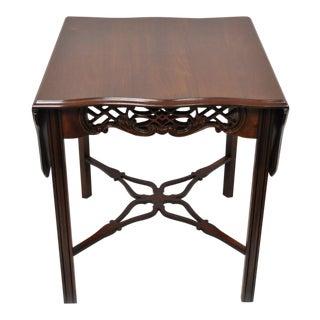 Vintage Mid Century Salem Mahogany Square Drop Leaf Side Table For Sale