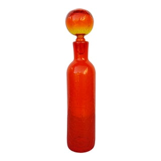 Orange Blenko Glass Decanter For Sale