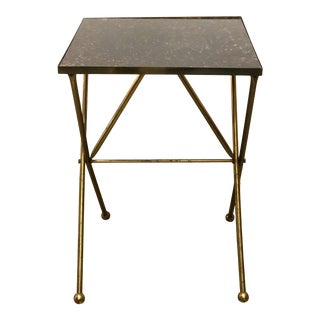 Vintage Hand Painted Faux Tortoise Shell and Brass Side Table For Sale