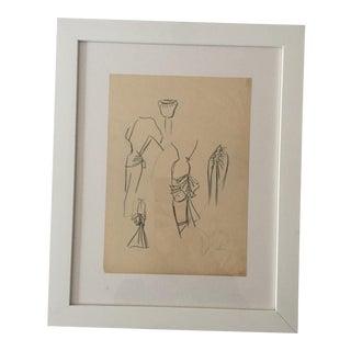 1950s Vintage Christian Dior Fashion Sketch For Sale