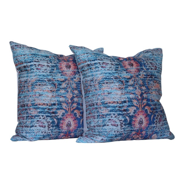 Blue Ikat Distressed Print Pillow Cover - a Pair-16'' For Sale