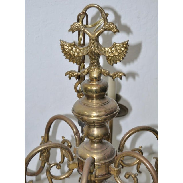 Empire Six Arm Brass Berunda Chandelier c.1940s For Sale - Image 3 of 5