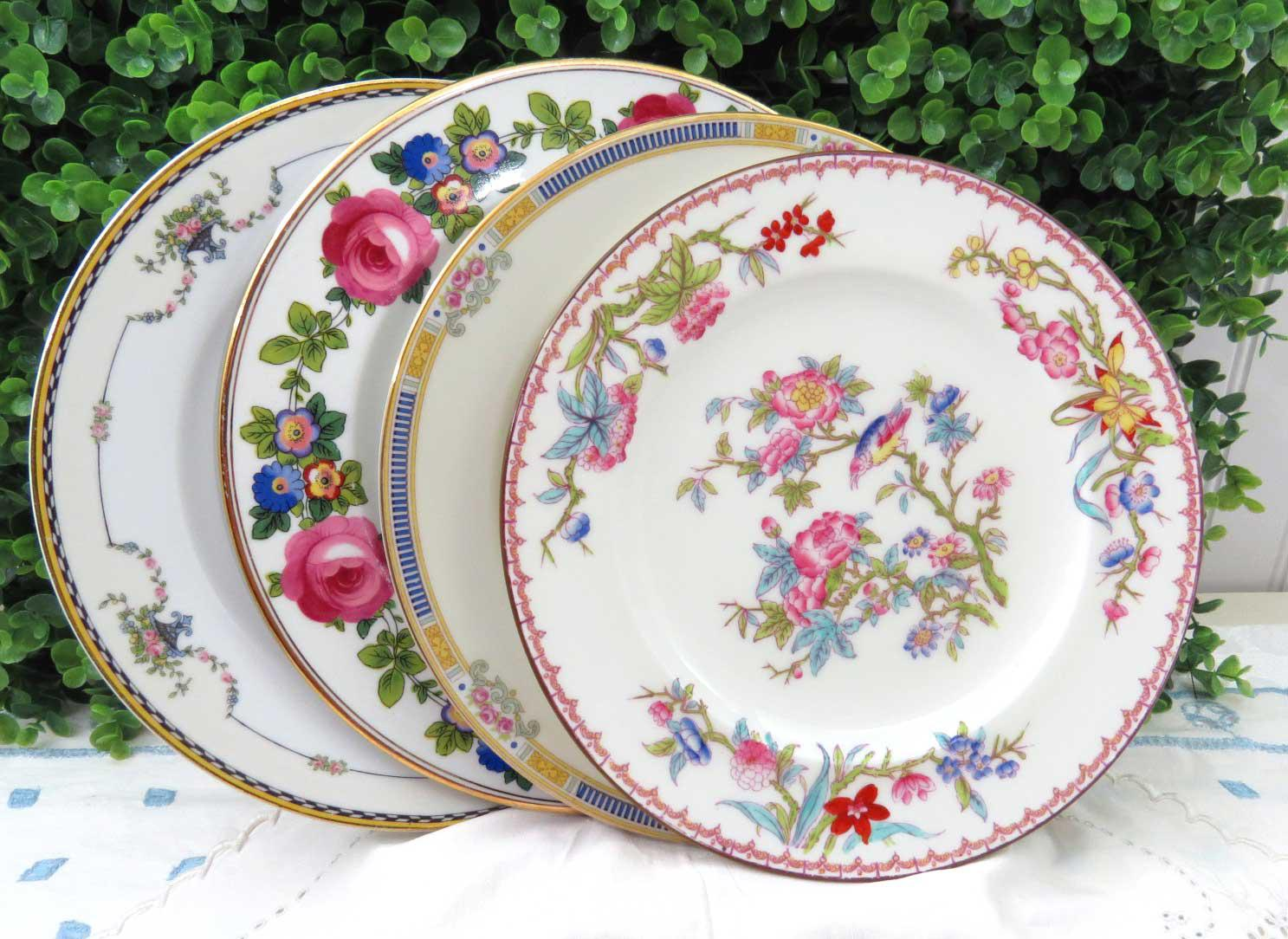 Vintage Mismatched Pink Floral China Dinner Plates - Set of 4 - Image 2 of 10  sc 1 st  Chairish & Vintage Mismatched Pink Floral China Dinner Plates - Set of 4 | Chairish