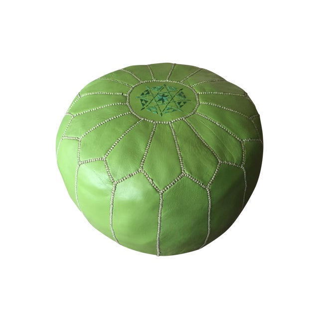 Green Moroccan Leather Pouf - Image 1 of 5