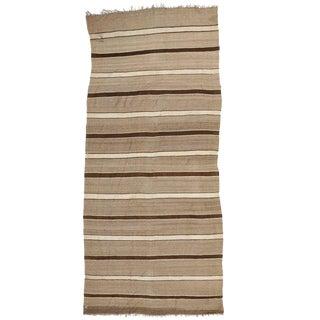 Vintage Mid-Century Berber Moroccan Striped Kilim Rug - 5′8″ × 13′ For Sale