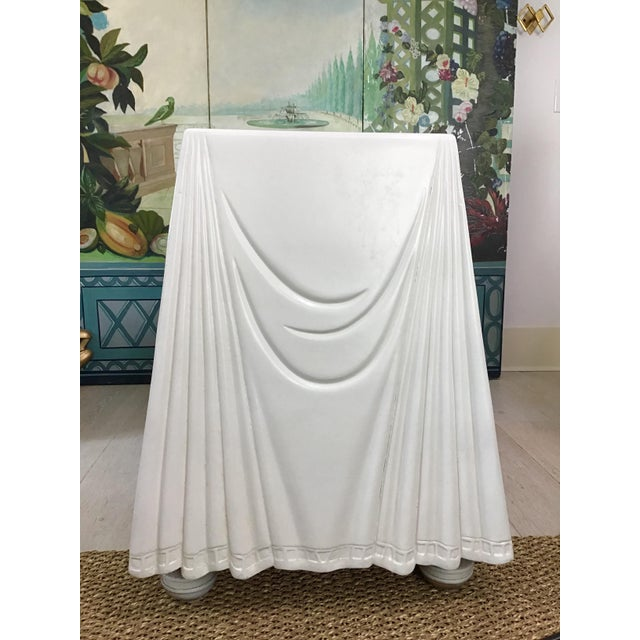 1980s Hollywood Regency Lacquered Parchment Trompe L'Oeil Drapery Console For Sale In Charleston - Image 6 of 12