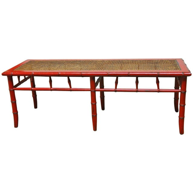 Red Lacquer Faux Bamboo Cane Bench - Image 1 of 5