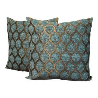 Turkish Diamond Shimmer Turquoise Blue Pillow Cover - a Pair For Sale