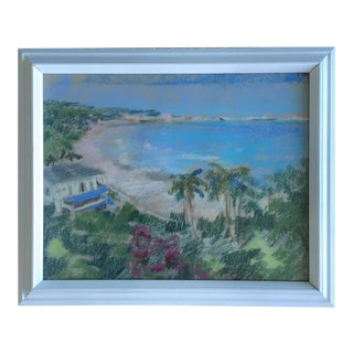 Original Oil Pastel Caribbean Coastline Seascape Framed Art