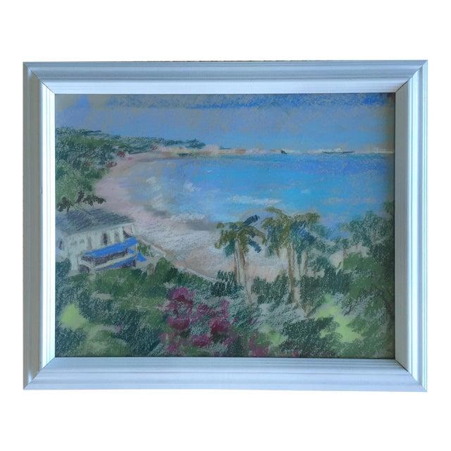 Original Oil Pastel Caribbean Coastline Seascape Framed Art - Image 1 of 10