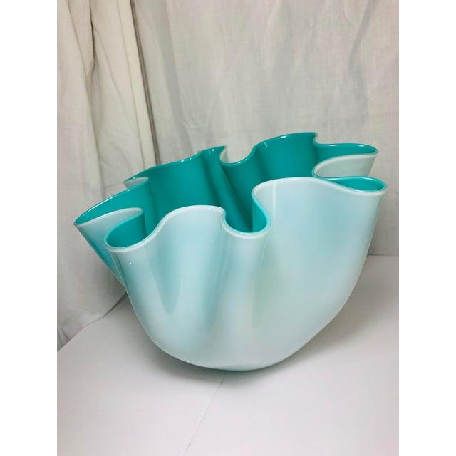 """Fulvio Bianconi Venini Cased Tiffany Blue Glass """"Fazzoletto"""" Handkerchief Vase For Sale In Chicago - Image 6 of 11"""