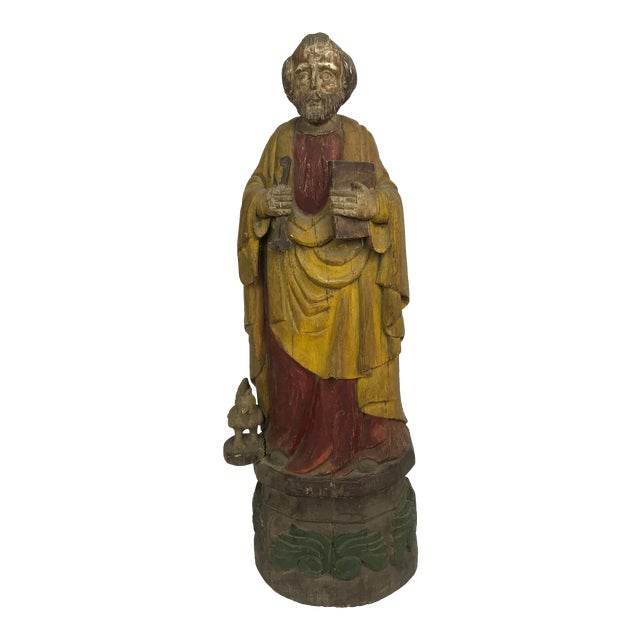 Vintage Carved Wood, Paint & Gesso Santos Statue For Sale