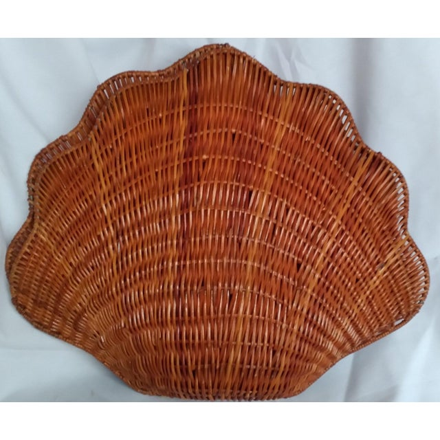 Large Vintage Wicker Shell Hinged Basket For Sale - Image 4 of 5