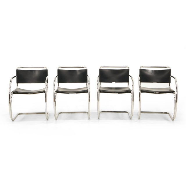 Set of Four Black Leather MR 20 Lounge Chairs with Arms by Mies van der Rohe For Sale - Image 11 of 12