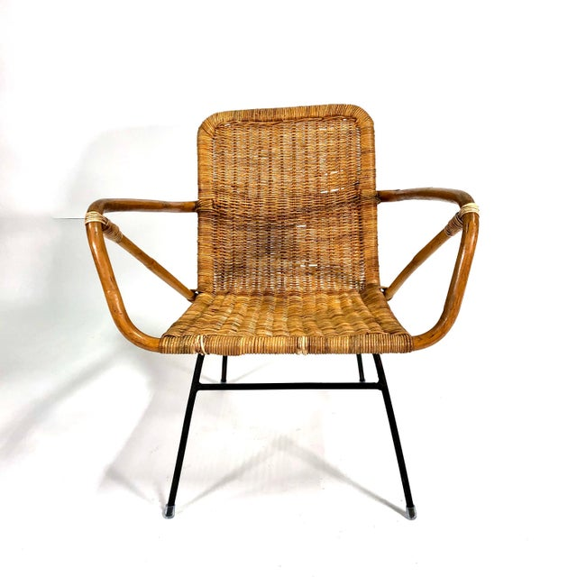 Mid Century Italian Rattan Lounge Chair For Sale - Image 9 of 12