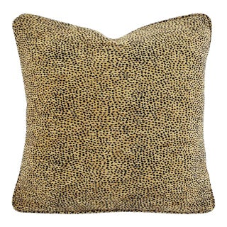 """Safari Brown With Black Animal Spots Chenille With Self-Welt Pillow Cover - 20"""" X 20"""" For Sale"""