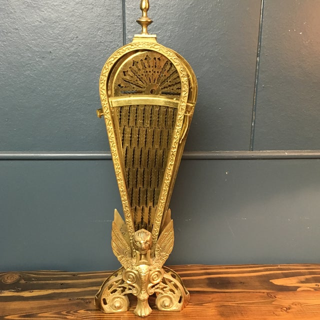 Vintage Retractable Brass Fireplace Screen For Sale In San Francisco - Image 6 of 9