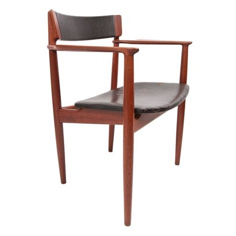 Teak & Leather Arm Chairs - A Pair For Sale - Image 5 of 7