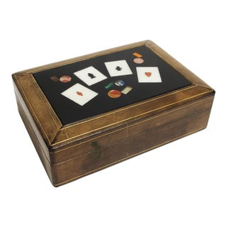 Vintage Italian Playing Cards Box in Leather and Stone