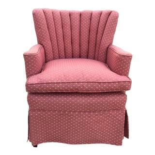 1950s Pink Channel Back Slipper Chair For Sale